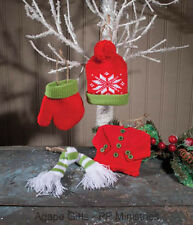OWI Christmas Decor - Ugly Sweater Knit Glove Hat Scarf Ornaments 4 pc.#45589