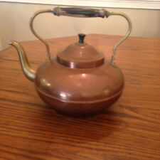 Vintage Copper And Brass Tea Kettle With Wooden Handle Made In Holland