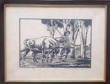 RARE gravure sur bois de Jean ROUPPERT Les bœufs. École de Nancy Milieu XXe