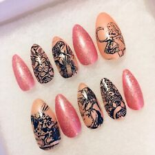 ALICE IN WONDERLAND size MEDIUM press-on gel nails Stiletto shape medium length