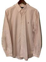 Men's Polo Ralph Lauren Pink/white Stripe Button Down Shirt Large 16.5 34/35