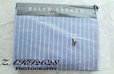 """BNWT RALPH LAUREN BLUE Wide Stripe Oxford doppio piumino taglia 79''x 79"""" RRP 185"""