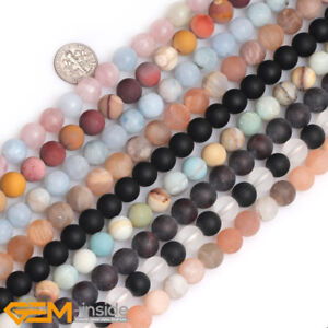 """Natural Gemstone Assorted Frosted Matte Round Beads For Jewellery Making 15"""""""