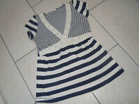 MARKS & SPENCER Blue/cream Striped Capped Sleeved Top Size 8
