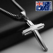 NEW Stainless Steel Silver Jesus Cross Crucifix Pendant Necklace Mens & Womens