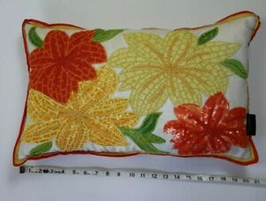 Cynthia Rowley cute Tropical beaded floral decor pillow throw Yellow and orange