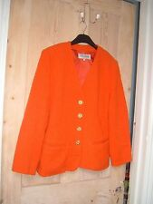 GUY LAROCHE Vintage Retro 60s 70s 80s Naranja Brillante Chaqueta De Lana Talla 38/10-12