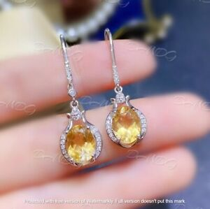 4Ct Oval Cut Yellow Citrine Women's Drop/Dangle Earrings 14K White Gold Finish