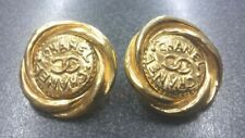 Authentic CHANEL CC Logo Clip-On Earrings