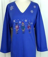 PLUS 3X 3/4 Sleeve Top Rhinestone Embellished Merry Christmas Nutcrackers Design