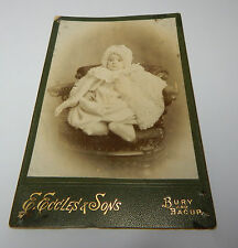 Cabinet Card Old Photograph young baby victorian E Eccles and sons Bury,& Bacup