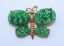 RARE Vtg Hattie Carnegie Green Glass / Faux Jade Butterfly Figural Pin Brooch
