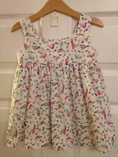 Handmade age 2, 100% cotton white/multi-colour bird dress