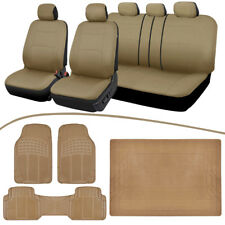 Universal Car Seat Covers + Heavy Duty Rubber Floor Mats + Cargo Liner - Beige