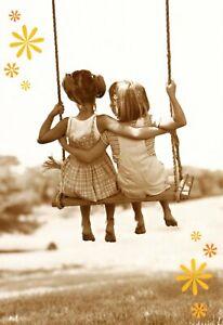 Swing Swinging On A Swing Best Friends or Sisters Blank Inside Hallmark Card