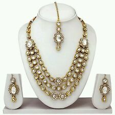 BOLLYWOOD INDIAN BRIDAL GOLD PLATED KUNDAN NECKLACE SET JEWELRY EARRINGS TIKKA