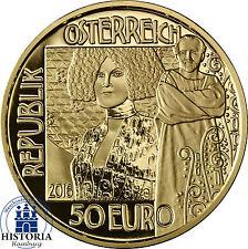 Österreich 50 Euro Gold 2016 PP Goldmünze Klimt und seine Frauen: Der Kuss