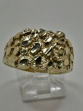 Mens 10k Solid Yellow Gold Nugget Style 12mm Wide Vintage Ring Size 11