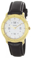 GUESS Mens White Dial Black Genuine Leather Strap Quartz Watch 34mm