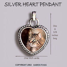 Norwegian Forest Cat - Ornate Heart Pendant Tibetan Silver