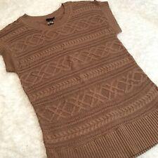 Lane Bryant Sweater Sz 18/20 W 1X Brown Crochet Tunic Pullover Top Short Sleeve