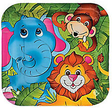JUNGLE / SAFARI PARTY ~ Zoo Animal Dinner / Disposable Lunch Plates - Pack of 8