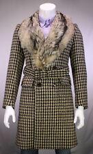 * BURBERRY * Recent Brown/Black Check Wool w/ Fox Fur Shawl Collar Overcoat 40
