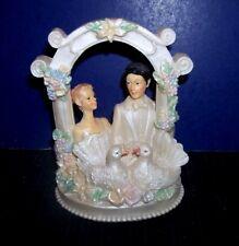 Wedding Cake Topper Figurine Romantic Bride & Groom Under Arch