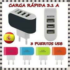 CARGADOR PARED ENCHUFE CASA 3.1A DOBLE 3 PUERTOS USB BLANCO MOVIL SAMSUNG HTC 4