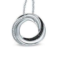 "925 Silver Black and White Diamond Accent Circle Pendant with 18"" Chain"