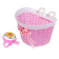 Kids Children Cute Pink Bike Bicycle Front Basket+ Handlebar Alarm Horn Bell