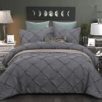 Pinch Pleat Pintuck Duvet Cover/Quilt Cover Queen King Bedding Set US Pillowcase