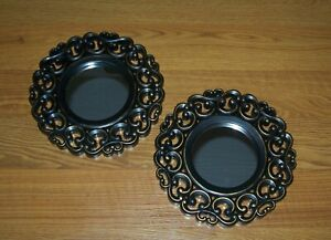 """(2) Fancy Round Ornate Design Resin Wall Mirrors-Antique Look -Home Décor-9.25"""""""