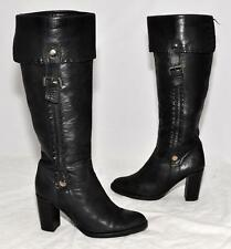 OJAY Black Genuine Full Leather Knee Length Boots For Women Size 38
