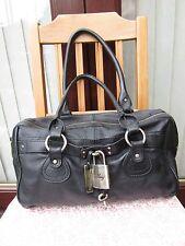 AUTH MNG BLACK LEATHER LARGE PADLOCK SHOULDER BAG HANDBAG MING