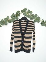 LOFT Cardigan Women's Striped Long Sleeve V-Neck Brown And Tan Size XS