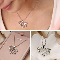 Simple Running Horse Charm Pendant Women Silver Plated Rhinestone Chain Necklace