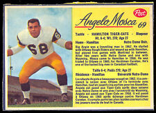 1963 POST CFL FOOTBALL #69 ANGELO MOSCA EX COND HAMILTON TIGER CATS NOTRE DAME