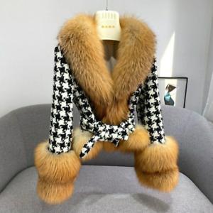 100% Genuine Women's Luxury Lattice Wool Coats Tops Jackets with Foxs Fur Collar