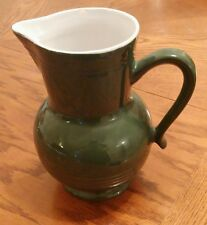 """Emilie Henry green pitcher 7.5"""" tall"""