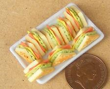 8 PANINI SU PIASTRA IN CERAMICA Casa delle Bambole Miniatura Accessorio Cucina Pane W92