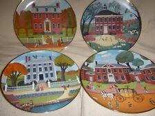 Early Amer Society Colonial Heritage 4 Plates:Derby,Trent,Moffatt-Ladd,Hammond