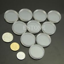 10pcs 27mm Clear Round Cases Coin Storage Capsules Holder Round Plastic New