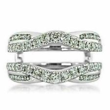 14K White Gold Finish 2.60 Ct Round-Diamond Solitaire Enhancer Guard Wrap Ring