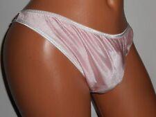 SHINY PINK NYLON RUNCH THONG BIKINI Sissy NO POUCH Panties 28-40 M L HANDMADE