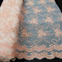 Double Scalloped Floral Embroidery BLUSH Lace Fabric Sequins Wedding Dress