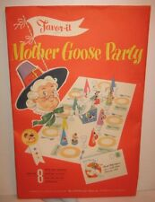 Old 1948 Mother Goose Party Decorations in PKG Set of 8 Invitations Nut Cup WOW!