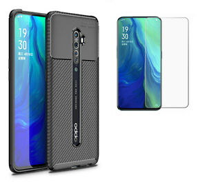 for Oppo Reno 2 Carbon Fibre Shockproof Protective Case + 2x Glass Screen Cover