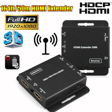 50m 1080p HD HDMI HDCP IR Extender Over Ethernet LAN RJ45 CAT5e/6 Cable Adapter+