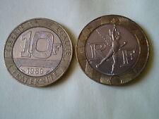 2 PIECES de 10 FRANCS GENIE DE LA BASTILLE de 1989